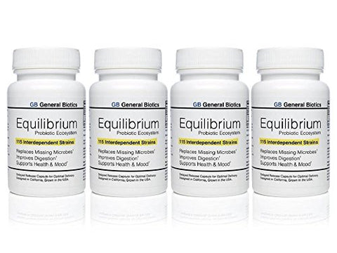 4-pack Equilibrium Probiotic - 120 Daily Capsules with Prebiotic - Highest Strain Count in the World – Effective Time Release Supplement - 115-Strains