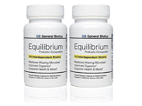 2-pack Equilibrium Probiotic - 60 Daily Capsules with Prebiotic - Highest Strain Count in the World – Effective Time Release Supplement - 115-Strains