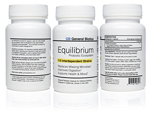 3-Pack Equilibrium Probiotic - 90 Daily Capsules with Prebiotic - Highest Strain Count in the World – Effective Easy to Swallow Time Release Probiotic Supplement - 115-Strains