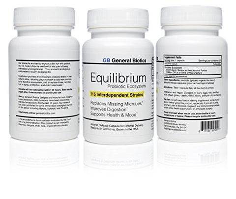 3-pack Equilibrium Probiotic - 90 Daily Capsules with Prebiotic - Highest Strain Count in the World – Effective Time Release Supplement - 115-Strains