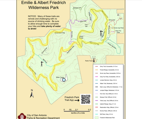 Trail map of Friedrich Wilderness Park highlighting the Main Loop and Restoration Way