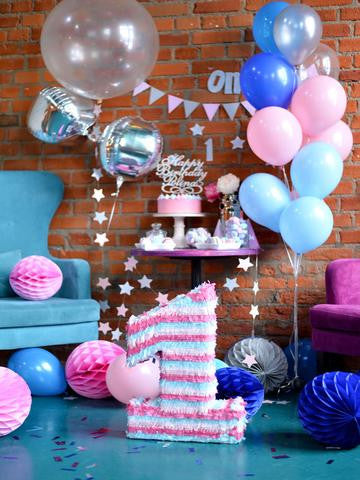 Birthday Party Background Balloons Backdrop Blue Backdrop J04959
