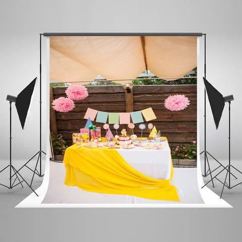 Birthday Party Background Cake Backdrops Pink Backdrops J04970