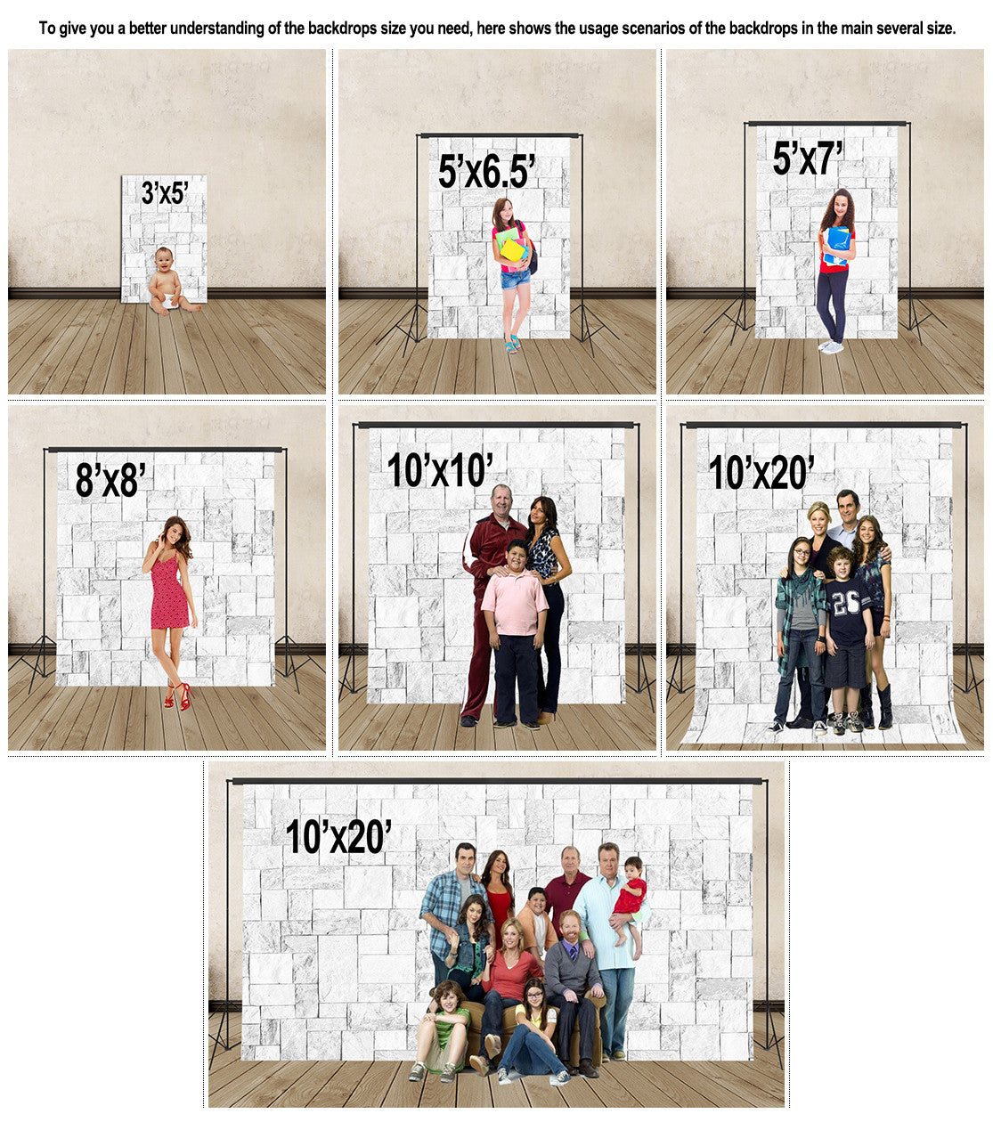 Size Chart Ibackdrop