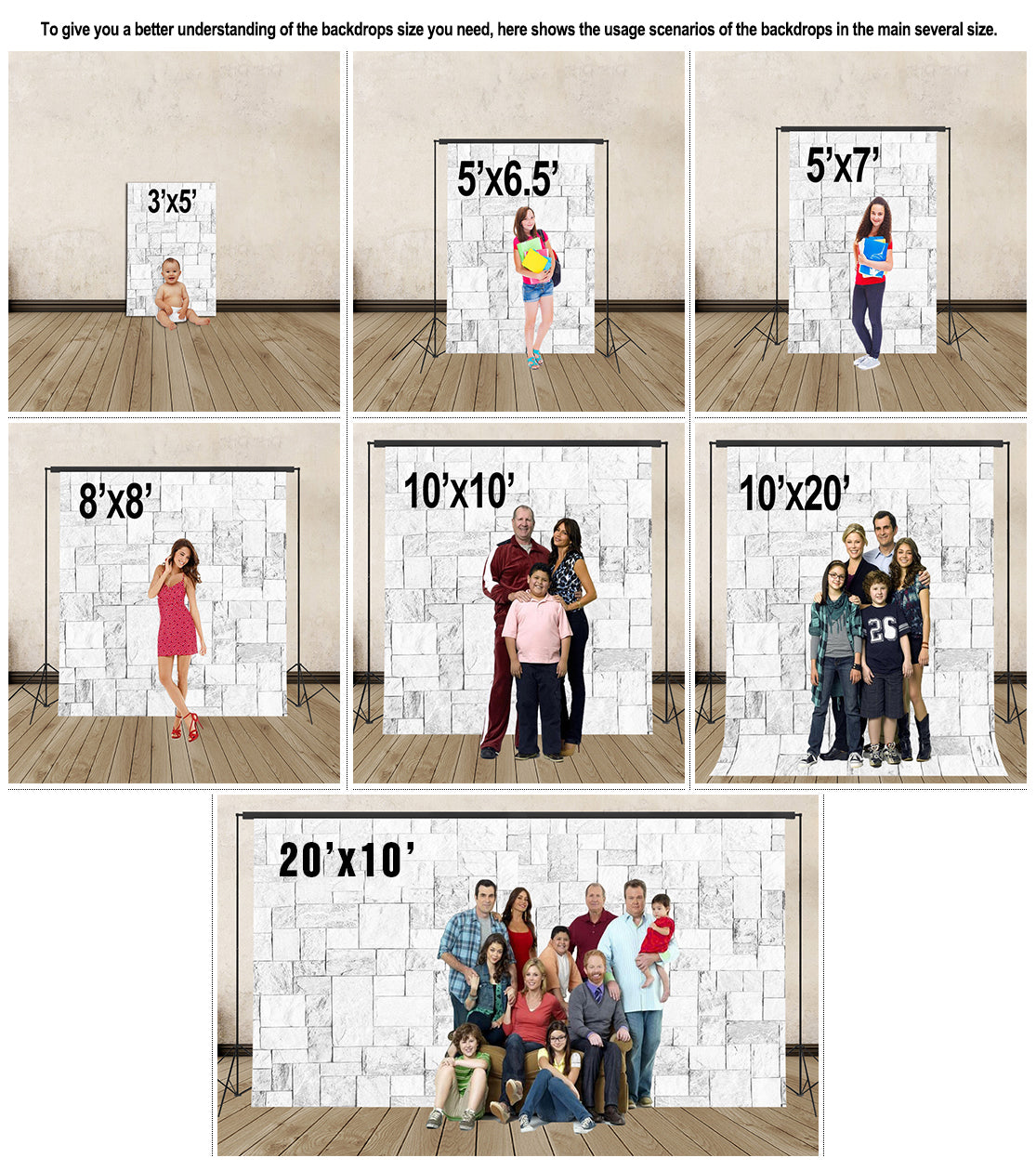 backdrops size chart | iBACKDROP