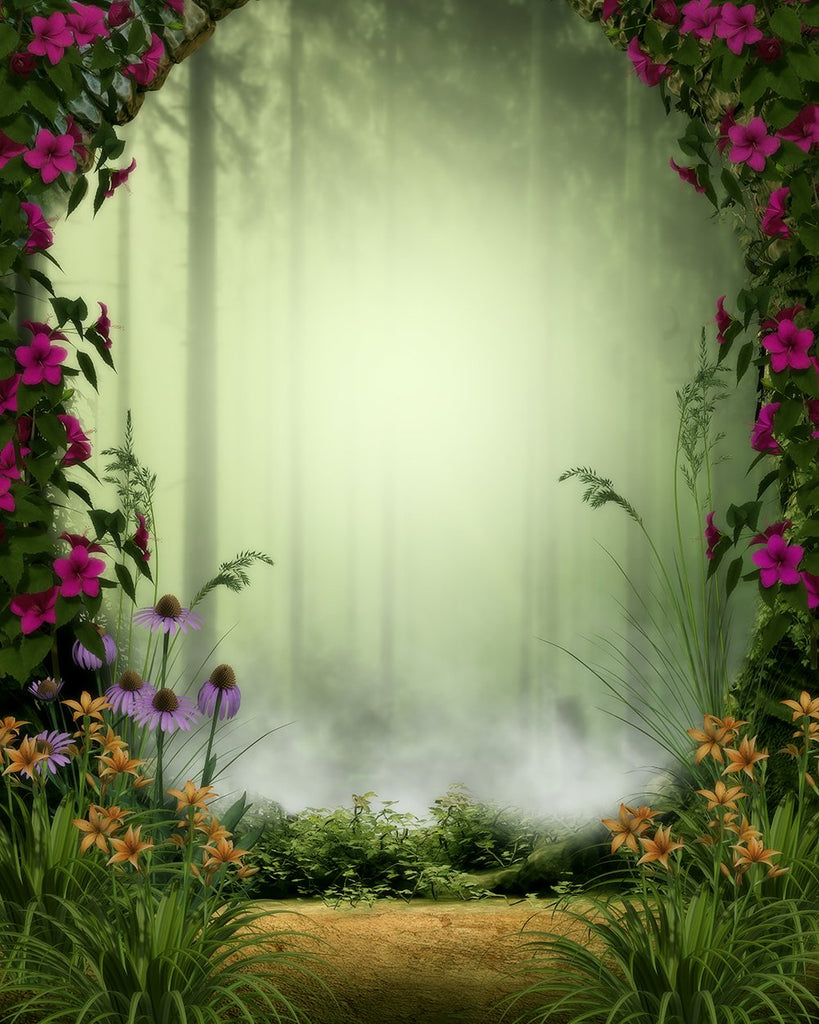 Around Flowers and Grass Background Baby Backdrops IBD-19343 - iBACKDROP-Baby Kid Backdrops, Beautiful Backdrops, Cartoon Fairytale Backdrops, Green Backdrop, Jungle Backdrop, Tree Backdrops