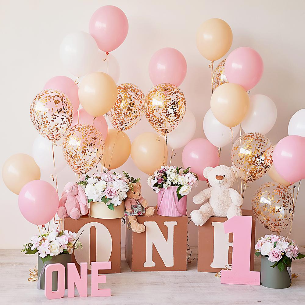 Baby's one-year-old Pink Balloon Background Baby Shower Backdrops IBD-19274 - iBACKDROP-Baby Backdrop, Baby Kid Backdrops, Cake Backdrop, Cake Backdrops, Cake Smash Backdrop, Food Backdrops