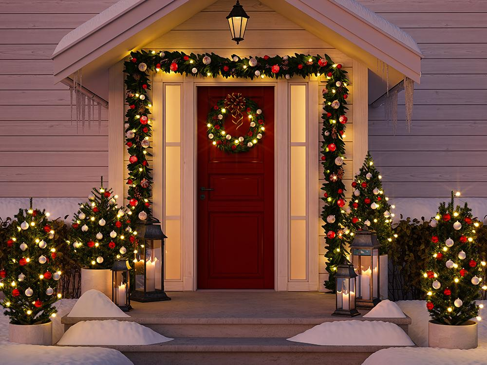 Beautifully Decorated Christmas Door Background Photography Backdrops IBD-19326