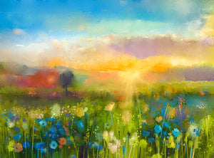 Brilliant Sky Spring Flowers Blooming Background Painting Field Photography Backdrops IBD-20057