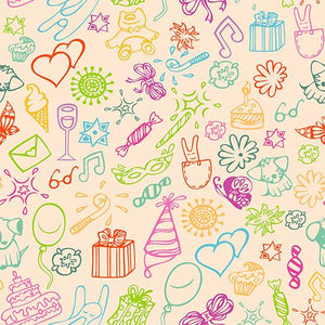 Children's Drawing Line Birthday Background Baby Shower Backdrop IBD-19547