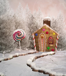 Christmas Cabin and Lollipops for Children Christams Backdrops IBD-19233