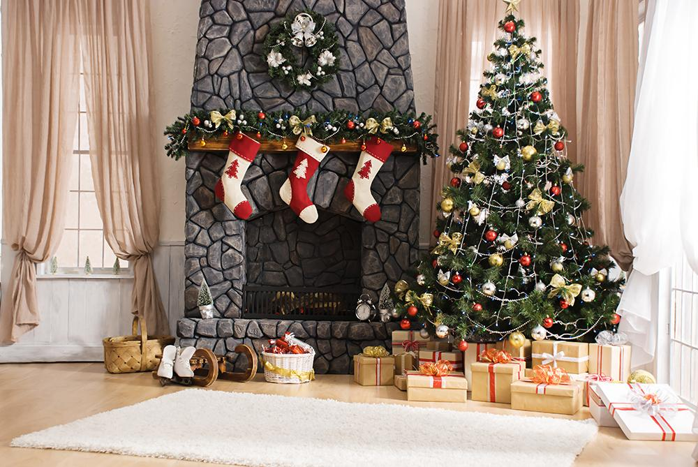 Christmas Indoor Decoration Background Photography Backdrops IBD-19255 - iBACKDROP
