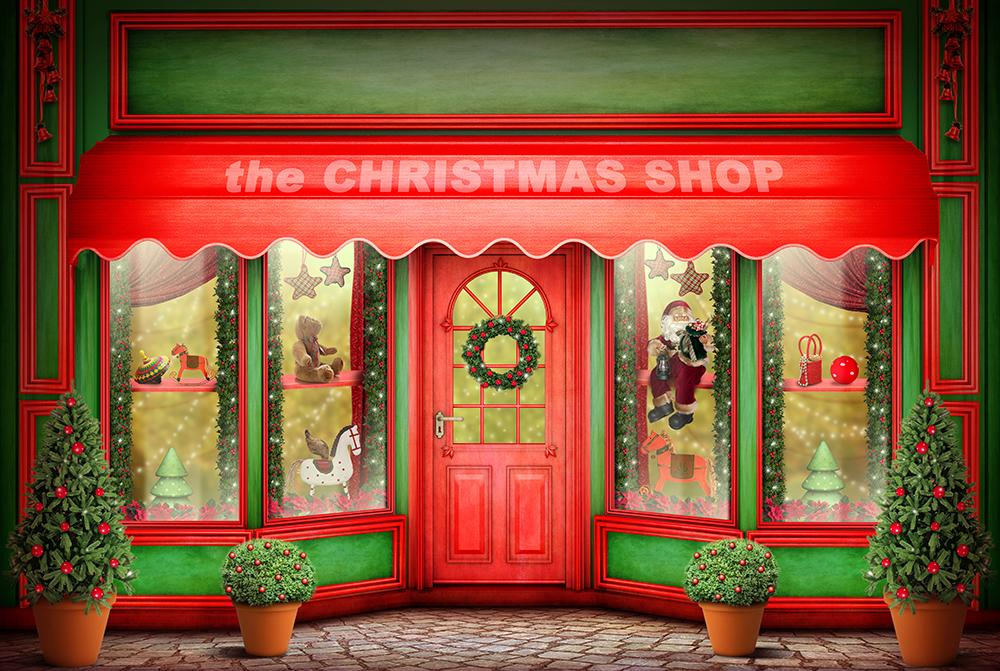 Christmas Shop Background Photography Backdrops IBD-19391