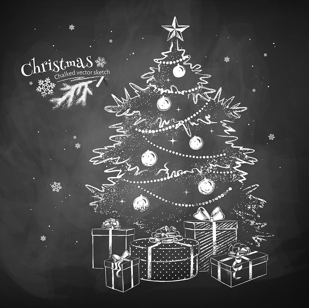 Christmas Tree Gift with Chalk Background Festival Backdrops IBD-19418