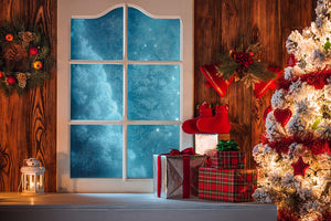 Christmas Tree and Blue Windows Filled with Gifts Festival Backdrops IBD-19260