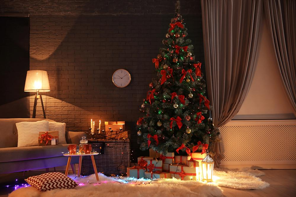 Christmas Warm Color Indoor Decoration Background Festival Backdrops IBD-19257