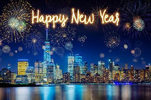 City Colorful Fireworks Lighting Background Happy New Year Backdrop for Photography IBD-19716