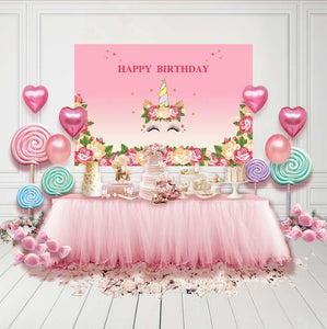 Birthday Backdrops Flowers Backdrop Pink Background G-126-1