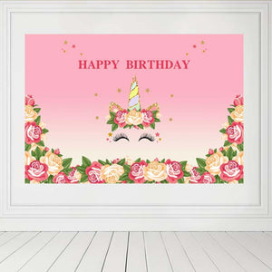 Birthday Backdrops Flowers Backdrop Pink Background G-126-2