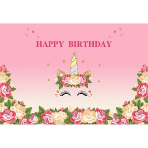 Birthday Backdrops Flowers Backdrop Pink Background G-126