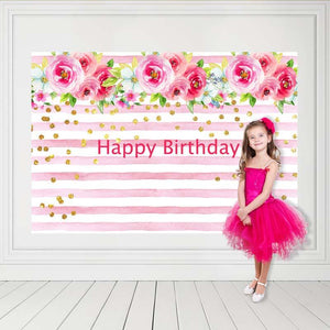 Birthday Party Backdrops Pink Backdrops Flowers Background G-132-1