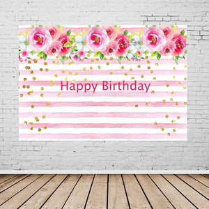 Birthday Party Backdrops Pink Backdrops Flowers Background G-132-2