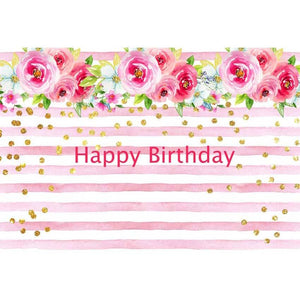Birthday Party Backdrops Pink Backdrops Flowers Background G-132
