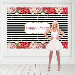 Birthday Party Backdrops Flowers Background Black And White Backdrop G-134-2
