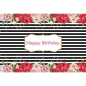 Birthday Party Backdrops Flowers Background Black And White Backdrop G-134