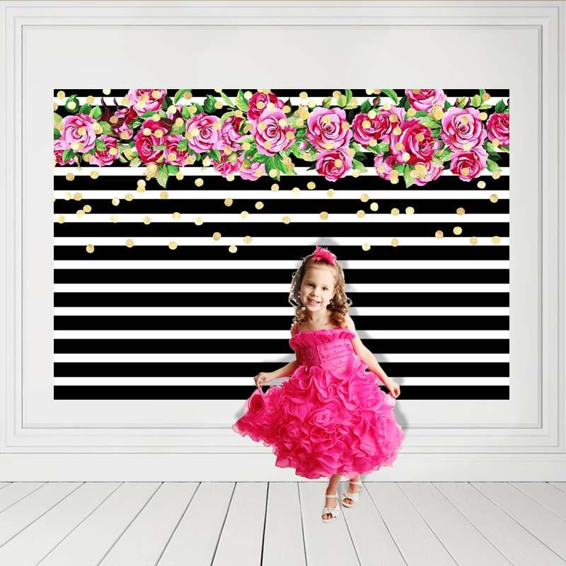 Baby Show Flowers Background Black And White Backdrop G-136 - iBACKDROP-baby shower backdrop, Black and White Backdrop, custom, Little Girl Backgrounds