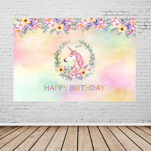 Birthday Party Backdrops Unicorn Backdrop Pink Background G-137-1