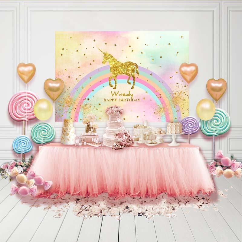 Birthday Party Backdrops Unicorn Backdrop Colorful Background G-138-1