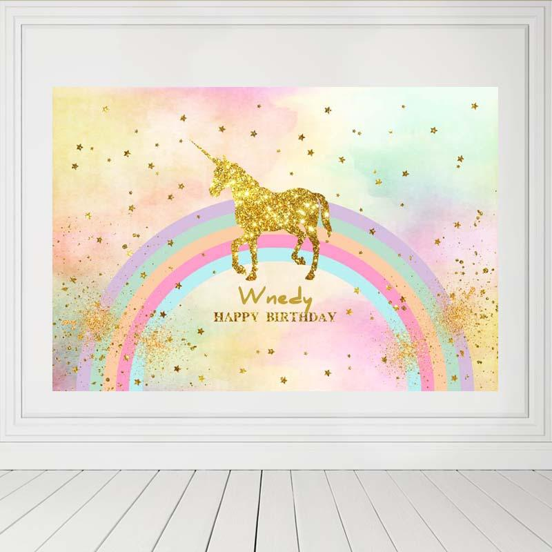 Birthday Party Backdrops Unicorn Backdrop Colorful Background G-138-2