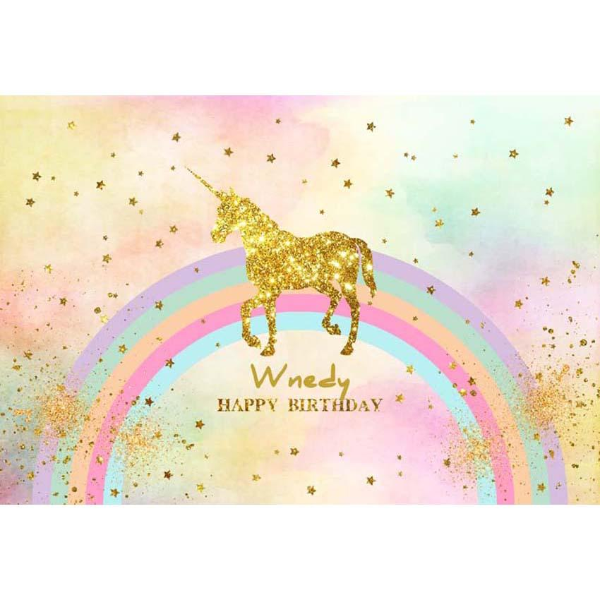 Birthday Party Backdrops Unicorn Backdrop Colorful Background G-138