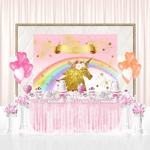 Birthday Party Backdrops Unicorn Background Pink Backdrop G-139-1