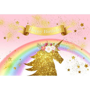 Birthday Party Backdrops Unicorn Background Pink Backdrop G-139