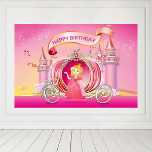 Birthday Party Backdrops Princess Backdrops Pink Background G-142-1