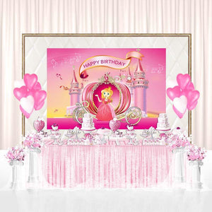 Birthday Party Backdrops Princess Backdrops Pink Background G-142-2