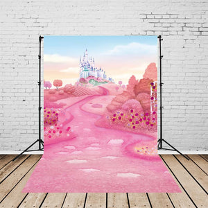 Castle Backdrops Pink Backdrop Trees Background G-149-1