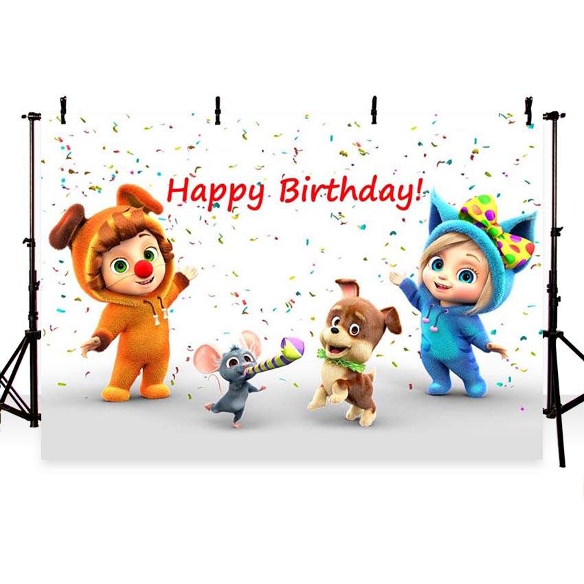 Birthday Party Backdrops Cartoon Background White Backdrops G-159
