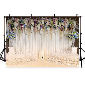 Patterned Backdrops Flower Backdrops White Curtain Backgrounds G-192