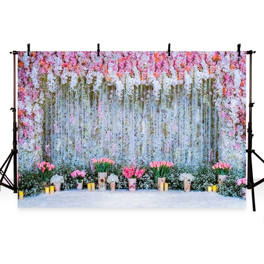 Wedding Backdrops White Backdrops Flowers Background G-218