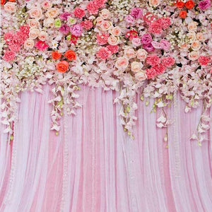 Patterned Backdrops Flower Backdrops Pink Curtain Backgrounds G-238