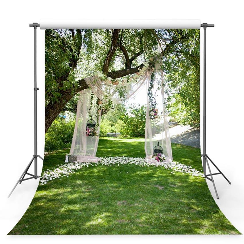 Wedding Backdrops White Background Grass Backdrop G-243