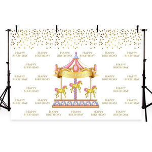 Birthday Party Backdrops Horses Backdrop Yellow Background G-415