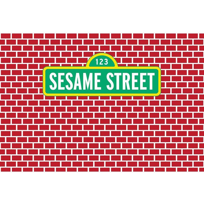 Baby Background Cartoon Fairytale Backdrops Sesame Street Backdrop G-478 - iBACKDROP-Baby Kid Backdrops, Brick Wall Backdrop, Cartoon Fairytale Backdrops, Wall Backdrop, Wall Backdrops