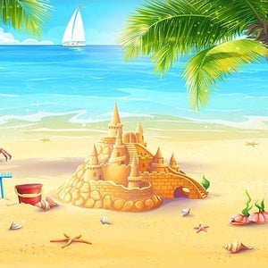 Beach Backdrop Ocean Backgrounds Blue Sky Backdrop G-491