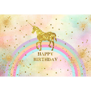 Birthday Party Backdrops Unicorn Background Colorful Backdrop G-514