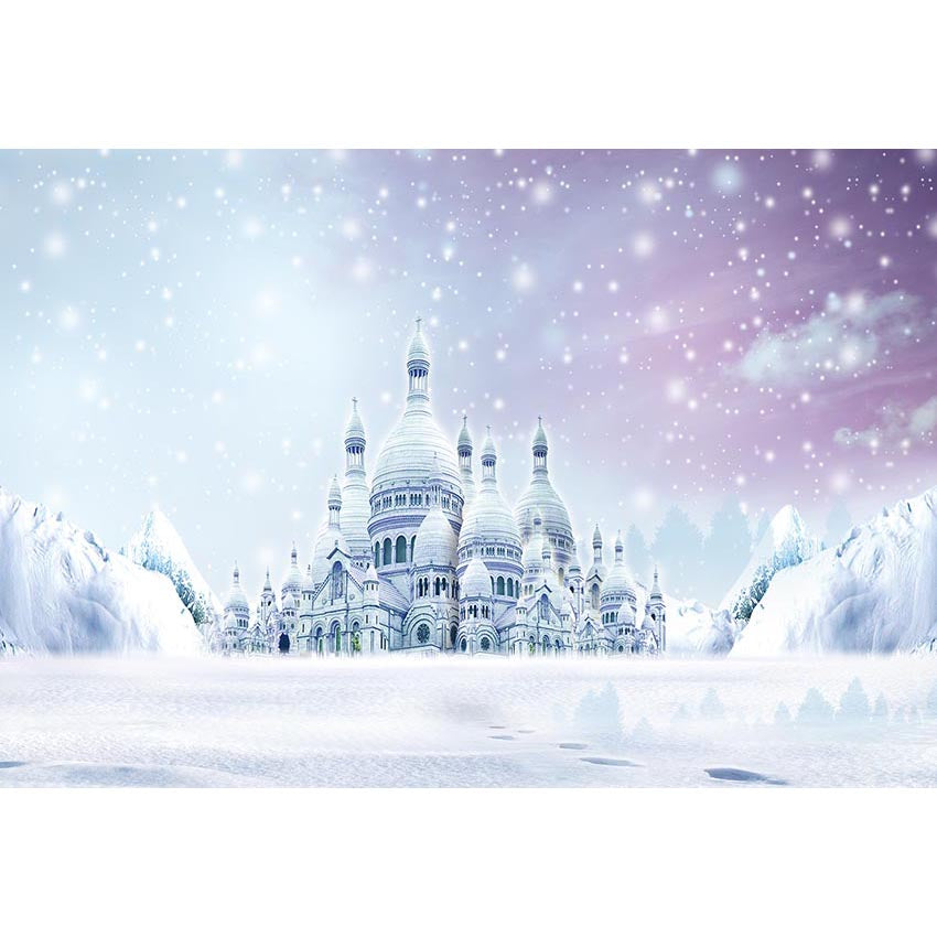 Castle Backdrops Snowy Backdrops White Backgrounds G-536