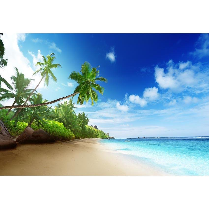 Beaches Backdrop Ocean Background Trees Backdrop G-560 - iBACKDROP-Beaches Lakes Waterfalls, Brick Wall Backdrop, Scenic Backdrops, Wall Backdrop, Wall Backdrops